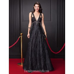 Australia Formal Dress Evening Dress-Black A-line V-neck Long Floor-length Lace Dress